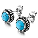 MENDINO Mens Womens Stainless Steel Stud Earrings Turquoise Agate Blue Silver Round