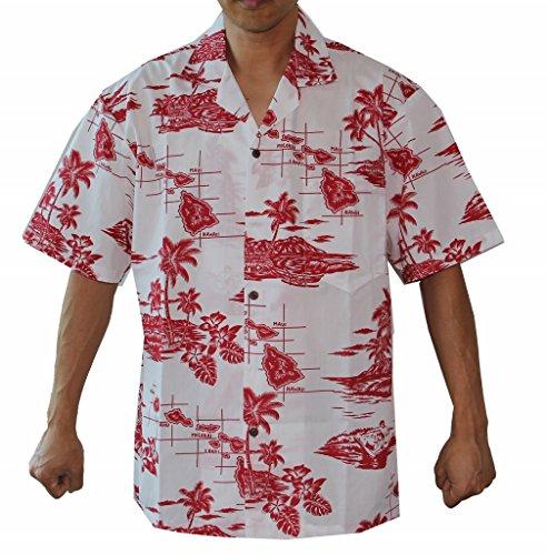 Men's Hawaiian Islands Map Cruise Luau Hawaiian Aloha Shirt (L, RED)