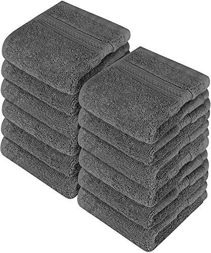 (Utopia Towels Premium 700 GSM Cotton Washcloths - 12 Pack, Dark Grey, 12 x 12 Inches Extra Soft Wash Cloths)