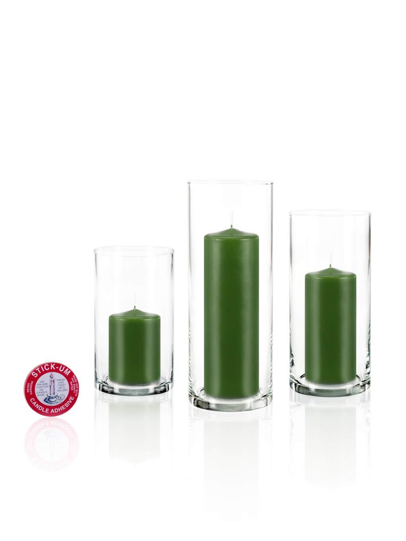 Yummi Set of 36 Slim Pillar Candles Cylinder Vases - Green Tea