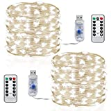 Led string lights,InteTech [2 Pack]10m 100 LEDs Micro silver Wire Waterproof LED String Fairy Lights usb port Indoor Outdoor Starry String Lights Lighting DIY Decoration for Bedroom Jars Garden Camping Festive (Cool white With Remote)