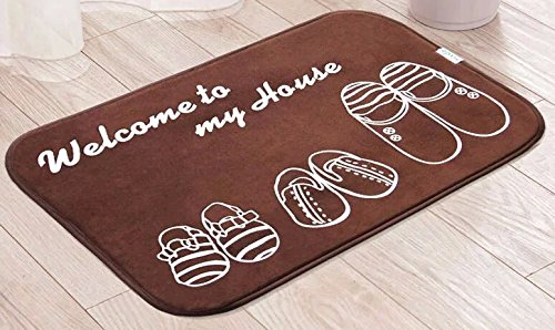 Coffee color welcome to my house design soft door mat for Price my house free online
