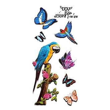 Oottati 3d Schulter Temporare Tattoo Schmetterling Papagei Baum