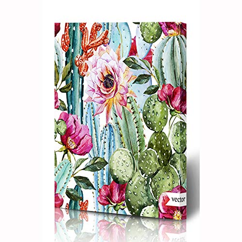 Ahawoso Canvas Prints Wall Art 8x12 Inches Floral Green Desert Watercolor Pattern Flowers Roses Cactus Rose Nature Tropical Succulent Vintage Wooden Frame Printing Home Living Room Office Bedroom