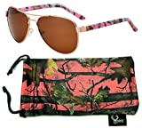Hornz Pink Camouflage Polarized Aviator Sunglasses for Women & Free Matching Microfiber Pouch - Small Size - Pink Camo Frame - Amber Lens