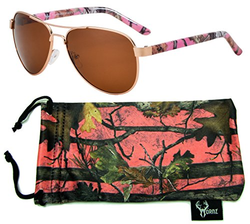 Hornz Pink Camouflage Polarized Aviator Sunglasses for Women & Free Matching Microfiber Pouch - Small Size - Pink Camo Frame - Amber ()