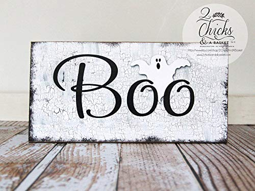 Emily Boo Halloween Sign Primitive Halloween Wall Decor Ghost Sign Home Decor Wall Art Plaque Sign ()