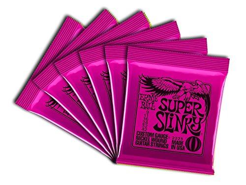 (Ernie Ball 2223 Nickel Super Slinky Pink Electric Guitar Strings 6 Pack )