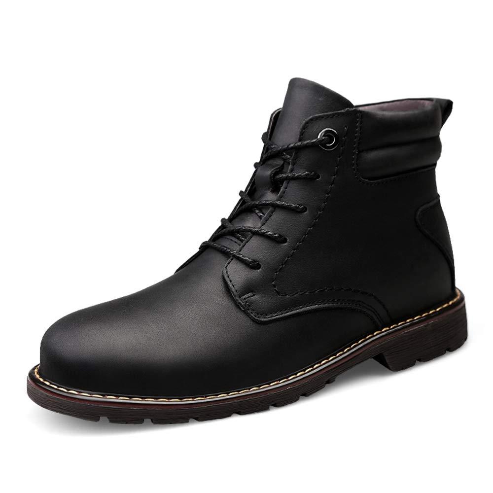 BND-schuhe , Herrenmode Stiefel Lässig Kuhfell Hohe Außensohle Stiefel (Warmer Samt Optional) dauerhaft; Standverschleiß (Farbe   Schwarz, Größe   47 EU)