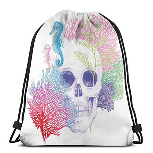 Printed Drawstring Backpacks Bags,Halloween Skull Skeleton Head With Coral Reef Dead Aquarium Pirate Wildlife Image,Adjustable String Closure]()