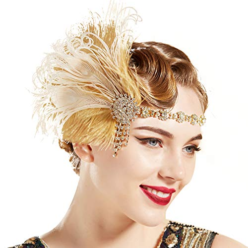 BABEYOND 1920s Flapper Headband Roaring 20s Headpiece Gatsby Peacock Feather Headpiece with Crystal (Gold) ()