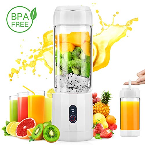 Portable Glass Blender, MOICO Personal Blender for Shakes and Smoothies,USB Juicer Bottle With 4000mAh Rechargeable Battery, Detachable Travel Blender, FDA BPA Free (White)