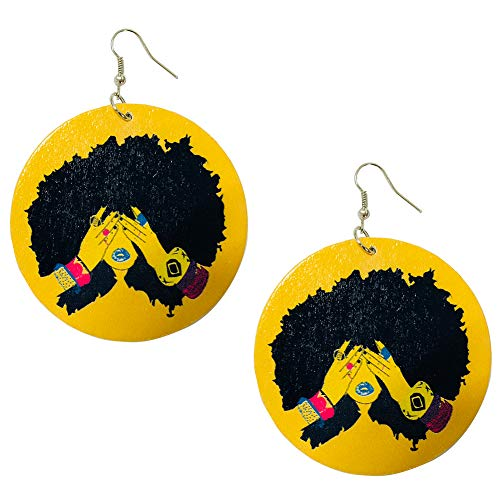 Ethnic Style Large Round Wood Eardrop African Wooden Dangler Earrings (Color ()