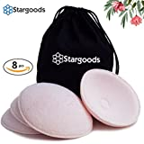 Breastfeeding Nursing Pads, Pack of 8 Reusable and Washable Stay Dry Organic Breast Pads with Travel Bag by Stargoods