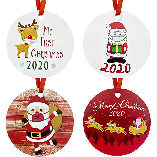 Ananko 2020 Christmas Tree Ornament, Lovely Christmas Tree Decoration with Various Epidemic-Related Elements, 3 inch Circle Christmas Tree Ornaments, for Friends and Family,4Pcs