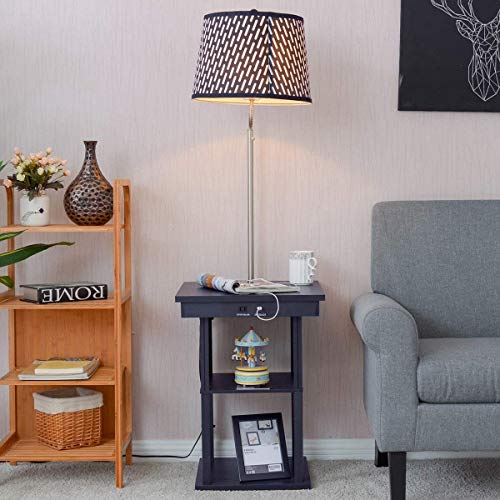 Costzon Floor Lamp, Swing Arm Lamp w/Shade Built in End Table Includes 2 USB Ports (Black Shade)