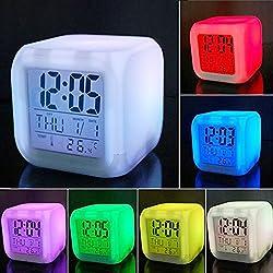 Scenstar Kids Clock Digital Alarm clocks 7 Colors Changing Digital Alarm Clock with Multi-function Thermometer Night Glowing for Bedroom&Table,School Desk
