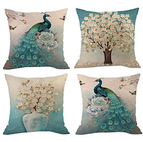 - Selcet Pack of 4 Color Peacock Beautiful Flower and Tree Pattern Decorative Throw Pillow Cases Cushion Covers for Couch Sofa Car Square 18 x 18Inch