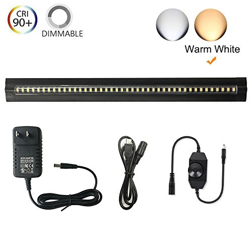 Full Range Cabinet (Under Cabinet Lighting - Ultra Thin, 2 Coin Thickness LED Light Plug-In, Full Range Dimmable with 42 LEDs, Large Area Illuminated, Easy Installation, Warm White 12V/1A 5W/450LM CRI90, All in One Kit.)