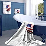 WolfgangDecor Sports Decor Queen Size Premium Cotton Extra Large Bath Towel Set USA American Flag Printed Soccer Ball in a Net Goal Success Stylized Artwork Bathroom hand towels set