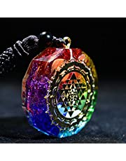Seven Chakra Pendant Necklace Sacred Geometry Energy Agate Crystal Crushed Stone Pendulum Necklace Jewelry for Men Women
