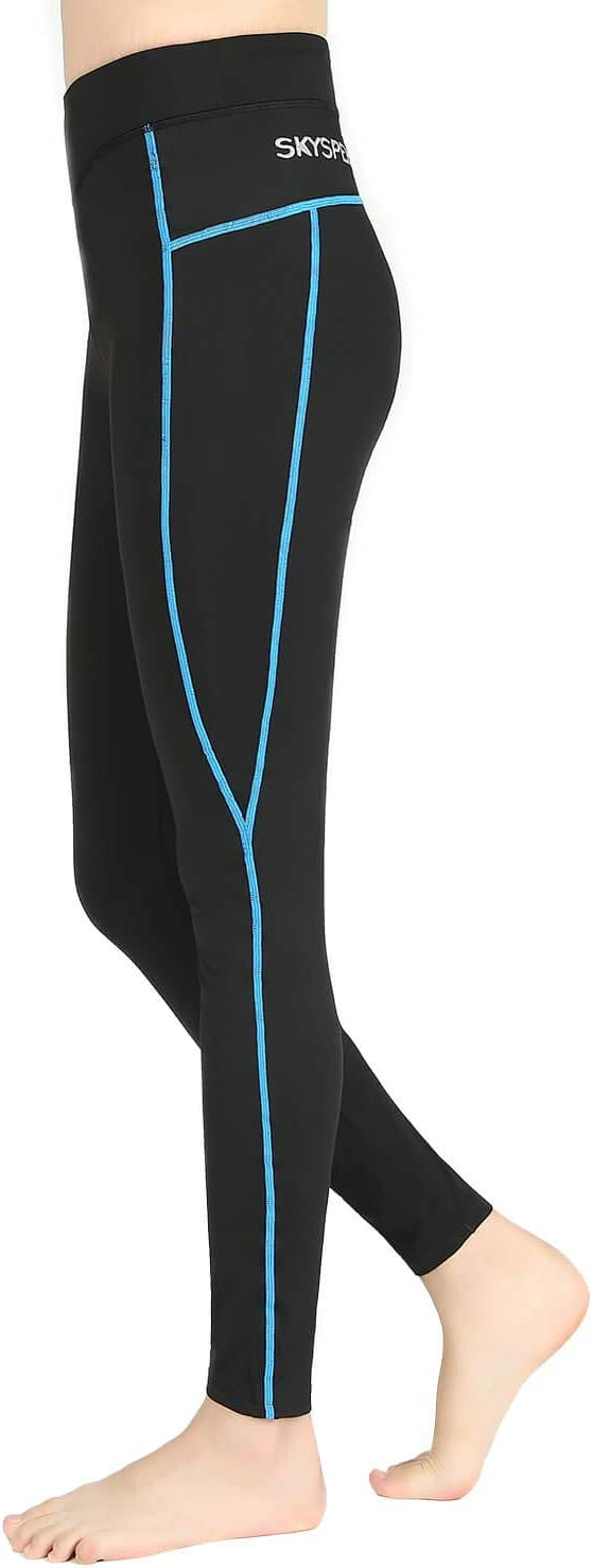 SKYSPER Mujer Pantalones Largos Ciclismo Deportivos Deportes Mallas Deportivas Leggings Yoga Pantalon Elastico Cintura Altura Polainas para Running Pilates Fitness