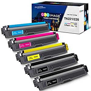 GPC Image Compatible Toner Cartridge Replacement for Brother TN221 TN225 to use with MFC-9130CW HL-3170CDW MFC-9340CDW HL-3140CW HL-3180CDW MFC-9330CDW Printer (2 Black, 1 Cyan, 1 Magenta, 1 Yellow)