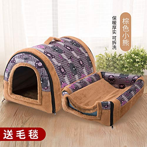 Kennel winter mediumsized small di dog house cat pet house bed washable four seasons universal yurt, brown bear, S, 37cm30cm30cm