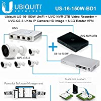 Ubiquiti US-16-150W UniFi+UVC-NVR Video Recorder+UVC-G3 IPCamera+USG Router VPN