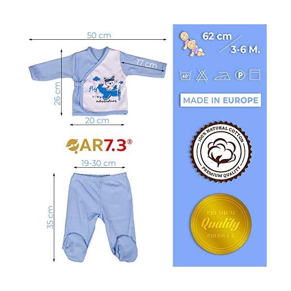 QAR7.3 Completo Vestiti Neonato 3-6 mesi - Set Regalo, Corredino da 5 pezzi: Body, Pigiama, Bavaglino e Cuffietta (Blu… 3