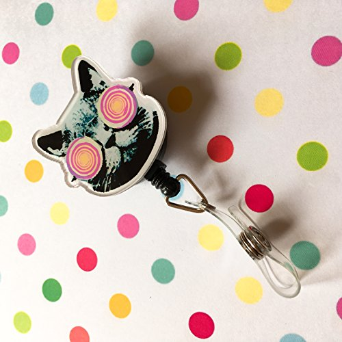 Hypnotic Cat Eyes Decorated Retractable Badge Reel ID Holder with Clip Backing