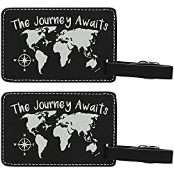 The Journey Awaits Globe Luggage Tag Travel Gifts for Women Travelers Gift World Traveler 2-pack Laser Engraved Leather Luggage Tags Black