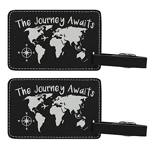 The Journey Awaits Globe Luggage Tag Travel Gifts for Women Travelers Gift World Traveler 2-pack Laser Engraved Leather Luggage Tags Black (World Luggage Tag Traveler)