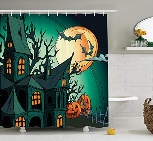 Halloween Decorations Shower Curtain Set by Ambesonne, Haunted Medieval House Theme Cartoon Bats in Twilight Gothic Fiction Spooky Art, Bathroom Accessories, 75 Inches Long, Orange Teal