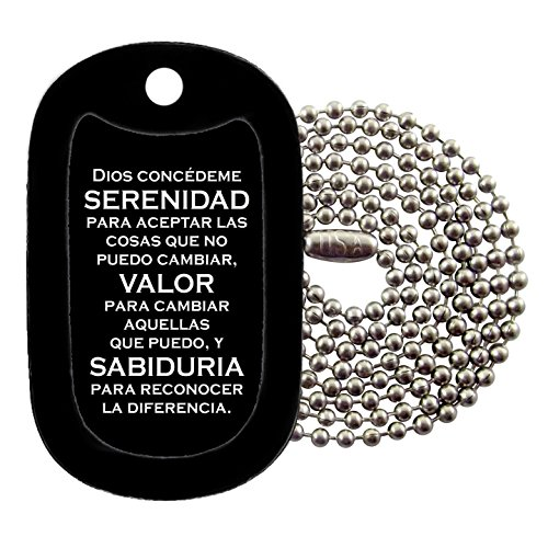 Tag-Z Military Dog Tags - Serenity Prayer - Spanish Dog Tag Necklace