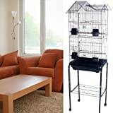 Mcage Large Canary Parakeet Cockatiel Lovebird Finch Roof Top Bird Cage with Stand -18'x14'x60' (Black)