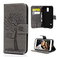 Galaxy S5/SM-G900/I9600 Case Wallet Case 3D Relief Embossed Owl Tree Cute Painting PU leather Soft TPU Inner Flexible Bumper Wrist Strap for Samsung Galaxy S5/SM-G900/I9600 Case - Gray