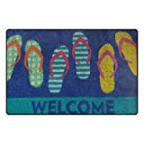 TSWEETHOME Doormat Area Rugs Outdoor Inside Welcome Mats with Flip Flops Welcome Print for Chair and Decorative Floor Mat(31 x 20 in & 60 x 39 in)
