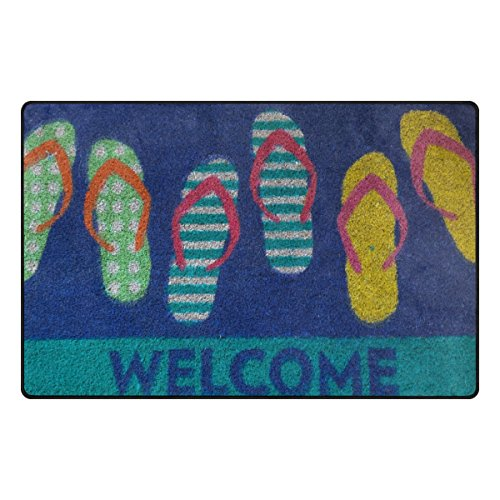 TSWEETHOME Doormat Area Rugs Outdoor Inside Welcome Mats with Flip Flops Welcome Print for Chair and Decorative Floor Mat(31 x 20 in & 60 x 39 in) -