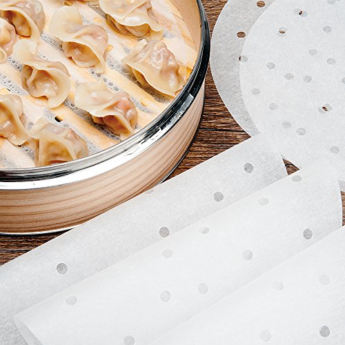 200pcs Air Fryer Liners - 9 Inch Non-stick Perforated Parchment Steamer Paper Liners for Bamboo Steamer, Steamer Basket, 5.3QT Air Fryers by Licok (Image #2)'