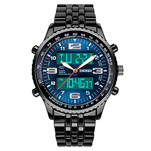 Gets Mens Stainless Steel Watches With Water Resistant 3 Atm Digital Watch Dual Time Display Date Led Wristwatch  Blue