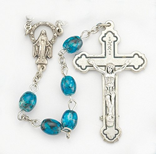 Blue Glass Rosary with Marbleized Oval Beads & Silver Plated Chain and Crucifix