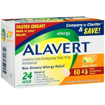 Alavert 24-Hour Non-Drowsy Allergy Relief (60-Count Citrus Burst Flavor Orally Disintegrating Tablets) -Pack of - Alavert Tablets Disintegrating Orally