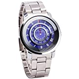 Luxury Fashion Men Women Purple Quartz Wrist Watch Metallic Strap Unique No Hand Rotational Display + Gift Box