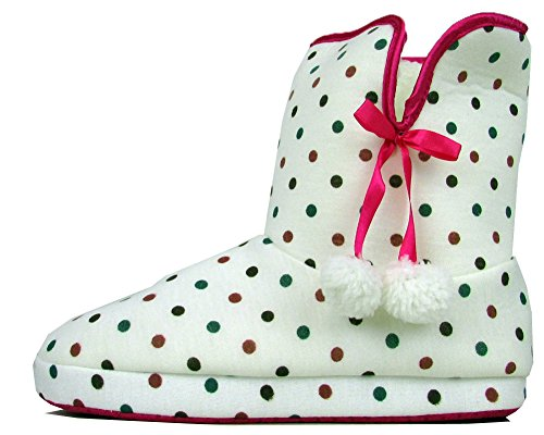 Womens Quality Furry Bootee Ankle Boot Slipper Ladies Eskimo Slippers Yetti 3-8 White (polka Dot) yovK1aC