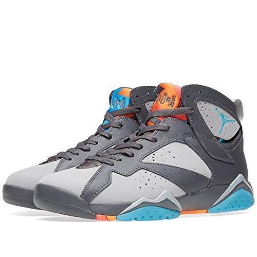 Jordan Air 7 Retro Barcelona Days Men's Shoes Dark Grey/Turquoise Blue-Wolf Grey-Total Orange 304775-016 (11.5 D(M) US)