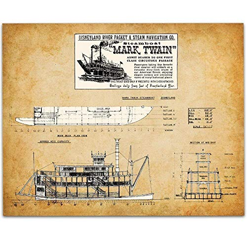 (Disneyland Mark Twain Steamboat - 11x14 Unframed Patent Print - Great Room Decor or Gift Under $15 for Disney Fans)