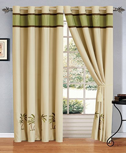 2 - Piece Sage Green / Beige / Brown Tropical PALM TREE Embroidered Grommet Luxury curtain set Drapes / Window Panels 120
