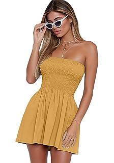 8f9831c7627ec just quella Women s Summer Cover Up Strapless Dresses Solid Tube Top Beach  Mini Dress