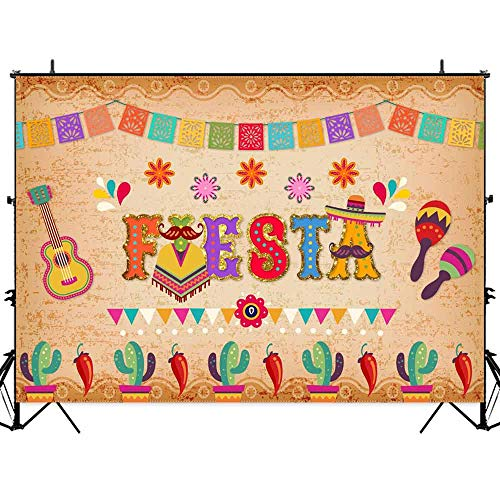 Allenjoy Mexican Fiesta Backdrop for Photography Luau Cinco De Mayo Birthday Party Table Decorations Banner Summer Carnival Dress-up Colorful Flags Photo Booth 7x5ft Background Supplies ()